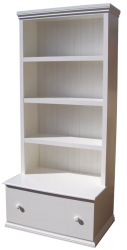 Bookshelves -  White Bookshelf with Drawer